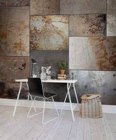 Wallpaper inspiration from pinterest. Industrial steel walls for warehouse