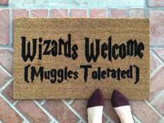 Harry Potter welcome mat / Handpainted, funny doormat/ Wizard Muggle Gift / Housewarming Gifts / Outdoor Welcome Mat / Gift For Her by NickelDesignsShop on Etsy https://www.etsy.com/listing/488219070/harry-potter-welcome-mat-handpainted