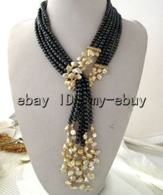 """Necklace with black freshwater pearls and champagne petals Keshi Keishi Pearl necklace 50 """" Bijoux Design, Schmuck Design, Jewelry Design, Diy Necklace, Necklace Designs, Fashion Necklace, Necklace Ideas, Fashion Jewelry Necklaces, Fashion Jewellery"""