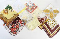 Vintage Handkerchiefs Lot of 10 Browns Yellows Hankies Florals  #Floral