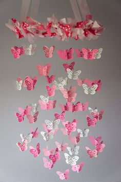 Butterfly Mobile for Baby Nursery Girl Room by LoveBugLullabies, $55.00. Might be easy to make