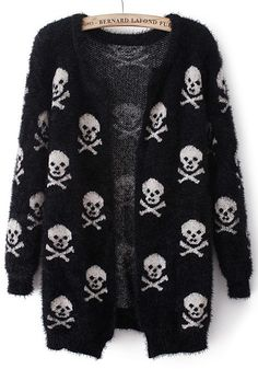 / Black Skull Print Long Sleeve Wrap Cardigan- I need this is my life Fashion Mode, Dark Fashion, Gothic Fashion, Fashion Outfits, Womens Fashion, Hipster Grunge, Style Grunge, Textiles Y Moda, Plus Size Long Sleeve Tops