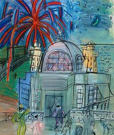 Dufy et le style Côte d'Azur:Raoul Dufy, Feu d'artifice à Nice, le casino de la jetée-promenade,1947, huile sur toile, 66,5 x 54 cm (Nicee, Musée des Beaux-arts Jules Chéret).