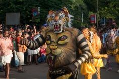 Pulikali - The play of tigers. Pulikali is performed on the fourth day of Onam celebrations in Thrissur, Kerala.