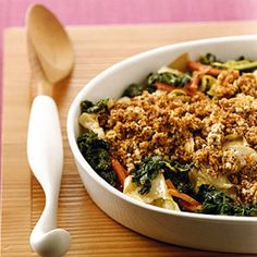 Healthy eating was always a priority in my mother's kitchen, and this colorful, delicious dish continues to be a staple at our Thanksgiving and Christmas tables. Using dried bread crumbs will create a crispy topping, while fresh bread crumbs produce a more tender result. Active time: 1 hr Start to finish: 1 1/2 hr