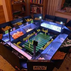 Check out this amazing snacks stadium one of our employees put together! 😍 And of course the lighting and touchdown mode are automated with Loxone 😉 Amazing Snacks, Super Bowl Sunday, Pinball, Lighting, Check, Lights, Lightning