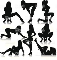 Female Stripper Silhouettes royalty-free stock vector art