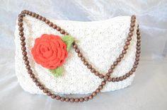 Handtasche - Häkeltasche mit Rose - ein Designerstück von Maries_Kreativballons bei DaWanda