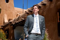Dapper groom in Bargello Skinny Tie and Pocket Square
