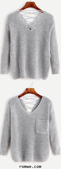 Pale Grey V Neck Lace Up Back Pocket Sweater
