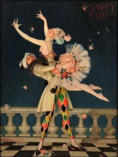 commedia dell'arte par les grands peintres - Frank Xavier Leyendecker (1876-1924) - arlequin et colombine