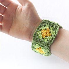 Crochet bracelet fiber bangle cuff granny square wristband green yellow. #bracelet