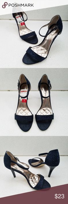 "ALFANI Midnight Blue Sparkly Peep Mary Jane Pumps In excellent condition, worn once. Slight wear/pocking on soles. Fits up to size 7.5' Size 7 3.5"" Heel  Price firm unless bundled, based on the time, care and cost involved in bringing you all these great pieces!  This is a second hand item may come with slight undetected stains, wear or defects. I have tried to describe and photograph each item so as to realistically represent its color and condition. Alfani Shoes Heels"