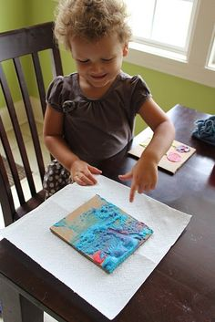 Microwave puffy paint recipe.  Preschool activity.