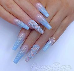 Top 32 Acrylic Nail Designs of 2020 : Page 23 of 32 : Creative Vision Design - cute acrylic nails Blue Acrylic Nails, Summer Acrylic Nails, Blue Ombre Nails, Summer Nails, Burgendy Nails, Sky Blue Nails, Blue Matte Nails, Violet Nails, Blue Coffin Nails