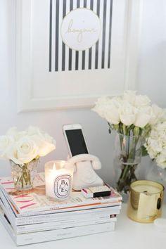 desk | white roses | framing ideas