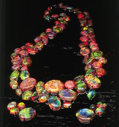 """The Path of Enlightenment"" necklace contains 180 magnificent opals from Lightning Ridge, Australia, a famous opal producing area. - Courtesy Cody Opal Z Opal Necklace, I Love Jewelry, Jewelry Art, Gemstone Jewelry, Vintage Jewelry, Fine Jewelry, Jewelry Design, Unique Jewelry, Jewlery"