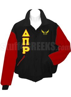 Black Delta Pi Rho Letterman Varsity Jacket with red sleeves, the Greek letters down the right, and the crest on the left breast.