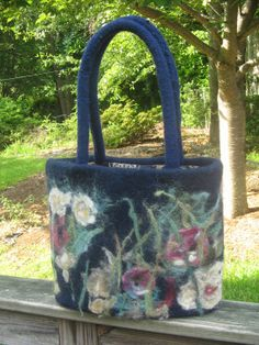 Felted Purse  bag  with needle felted design navy ❤ by WoolFeltMagic