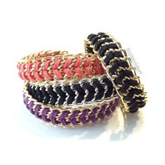 Chain Colors: Gold Silver  | Cord Colors: Black Red  Purple Coral Navy Blue  Mint  Cream Pink Light Blue $13/each