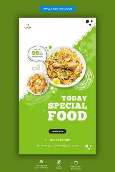 Food Menu And Restaurant Social Media Banner Template Menue Design, Food Web Design, Food Graphic Design, Food Poster Design, Design Design, Design Ideas, Design Package, Banner Design Inspiration, Restaurant Flyer