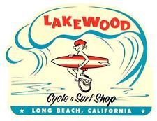 Lakewood--Cycle & Surf Shop--Long Beach, California   Vintage-Style Travel Decal