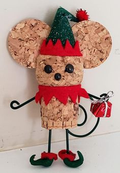 Final version of cork elf for 2018. Shoes are made from clay. Ears had to be cut specially to accommodate the hat.