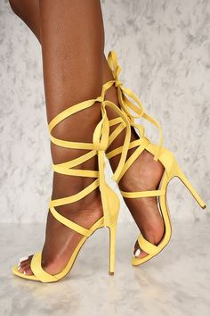 62a99e2f51 Sexy Yellow Strappy Lace Tie Open Toe Single Sole High Heels Faux Suede