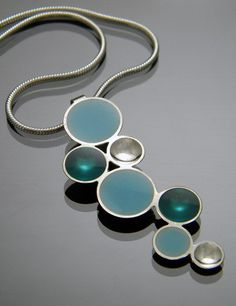 Bubbles Necklace in Sterling Silver with Teal and Baby Blue Resin. by bjsdesign, via Etsy.