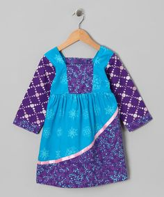 Take a look at this Aqua & Purple Ribbon Peasant Dress - Infant, Toddler & Girls by Young Colors on #zulily today!