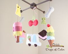 Baby Crib Mobile  Baby Mobile  Ice Cream by dropsofcolorshop, $85.00