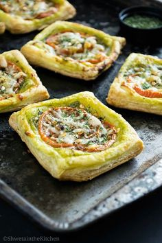 Layer of Basil Pesto , tomato and cheese over a puff pastry sheet, baked till crisp gives you these delicious Tomato Pesto Tarts . Th...
