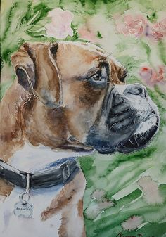 Dog Custom pet Watercolor Original Dog by GeorgeWatercolorArt