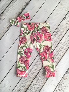 """Leggings and Knot Headband Set in """"Mila"""" Rose Floral Print, Toddler Leggings, Baby Clothing, Baby Pants, Boho Headwrap, Going Home Outfit"""