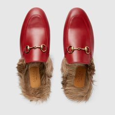 93f20a2846319 Women Fur Loafers, Gucci Loafers, Leather Slippers, Fancy Shoes, Red Shoes,