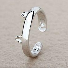 Mujeres señora plateado plata anillos gato de moda oídos gatito diseño abierto tamaño del anillo partido 7 For Young Girls joyería regalo de calidad superior(China (Mainland))