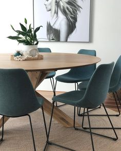 Another welcoming dining space created by the talented talent. Featuring circle dining table oak & Charlotte chairs in teal. Circle Dining Table, Oak Dining Table, Table And Chairs, Dining Chairs, Kitchen Tables, Kitchen Dining, Dining Room Furniture, Furniture Decor, Dining Rooms
