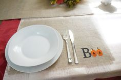 Burlap Placemats Embroidered Placemat Boo by FairStreetCrafts, $14.00
