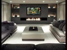 80 Ideas For Contemporary Living Room Designs - 2018 25 Best Modern Living Room Designs Living Room Tv, Living Room Modern, Home And Living, Living Area, Tv Wall Ideas Living Room, Living Room Ideas With Fireplace And Tv, Modern Tv Room, Feature Wall Living Room, Modern Wall Units