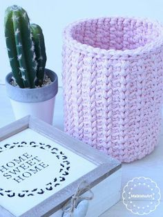 a crochet basket inspired by hooked zpageeti made with T Shirt yarn