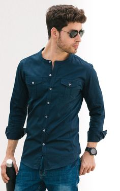Same color dressing navy collarless shirt Trendy Mens Fashion, Indian Men Fashion, Mens Fashion Sweaters, Mens Fashion Wear, Stylish Men, Cargo Shirts, Kurta Men, Mens Kurta Designs, Mens Designer Shirts