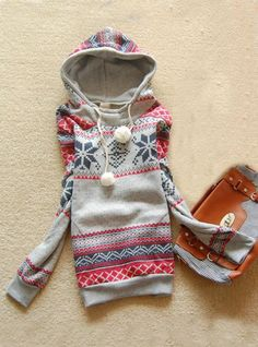 Hooded Geometric Gray Sweatshirts$42.00