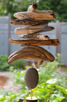Natural Driftwood Beach Stone West Coast Handcrafted Outdoor Wind Chime