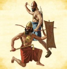 Los ejércitos mesopotámicos  Soldado de Hammurabi armado con un hacha y, tras él, guerrero acadio de tiempos de Naram-Sin (500 años anterior) dotado de arco compuesto.