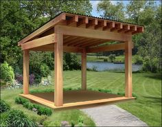 """Our 12' x 12' Custom Heavy Timber Cedar Pergola features 2"""" x 12"""" Headers,  2"""" x 8"""" Runners, and a Metal Roof."""