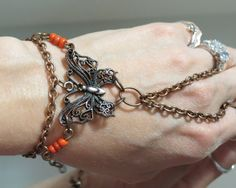 Copper Butterfly Slave Bracelet Ring by TheMysticalOasisGlow, $25.00