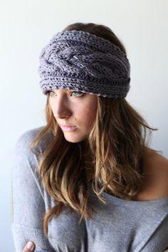 knitted headband ear warmer head muff braided cable by nakedwindow, $25.00