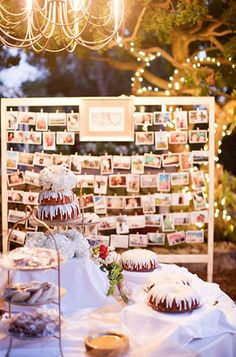 Dibbles Inn Wedding Desserts with Rustic Display of Family Photos and outdoor chandelier