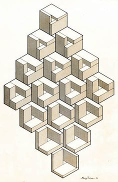 Impossible object transformation, 1976:  an illustration for Martin Gardner's column in Scientific American for November 1976