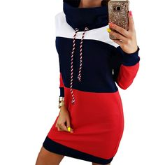 Fitted Prom Dresses, women winter turtleneck long sleeve hooded plus size 2018 autumn striped colorful hoodie dress sweatshirt dress Bey Love Dinner Outfit Classy, Dinner Outfits, Vestidos Polo, Dress Vestidos, Mini Robes, Hooded Dress, Sweatshirt Dress, Turtleneck Sweatshirt, Winter Dresses